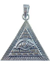 Colgante de plata, diseño de pirámide con ojo de Horus, amuleto de la suerte y símbolo de poder y de una vida feliz, plata de ley 925, 3,3 x 2,9 cm