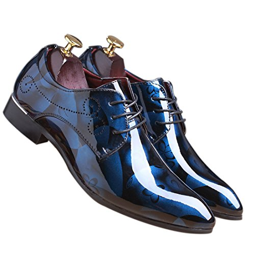 Men Fashion Shoes Dress Pointed Toe Floral Patent Leather Lace Up Oxford...