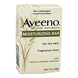 Aveeno Moisturizing Bar with Natural Colloidal Oatmeal for Dry Skin, Fragrance Free, 3 Oz