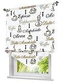 Blickdichte Raffrollo mit Kaffee Tasse Muster Rollos Vorhang Deko für Haus (B*H 100 * 140cm, Kaffee)