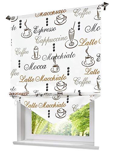 o mit Kaffee Tasse Muster Rollos Vorhang Deko für Haus (B*H 100 * 140cm, Kaffee) ()