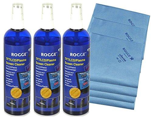 Preisvergleich Produktbild ROGGE DUO-Clean Original, 3er Set, 250ml Bildschirmreiniger + 2 Prof. Microfasertücher powered by Vileda Professional in Cooperation mit ROGGE InterTrade (3)
