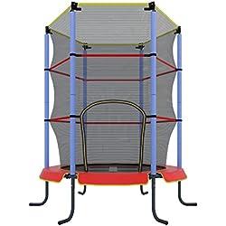 Ultrasport Trampoline d'intérieur Jumper 140 cm avec filet de sécurité Rouge Rouge/bleu