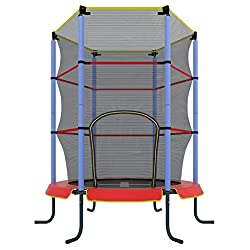 Ultrasport children's indoor trampoline Jumper 140 cm, fun and fitness trampoline for children over 3 years, for use as a room trampoline especially secured with mesh and edge cover, red / blue