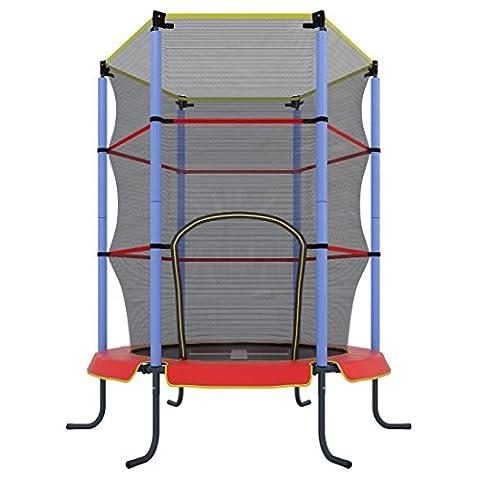 Ultrasport Kinder Indoor-Trampolin Jumper 140 cm inkl. Sicherheitsnetz, Rot