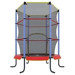 Ultrasport Trampolino indoor per bambini Jumper 140cm, trampolino da fitness e per divertirsi per bambini da 3 anni in su, si può utilizzare in sicurezza come trampolino da camera con rivestimento dei bordi e rete , Rosso/Blu