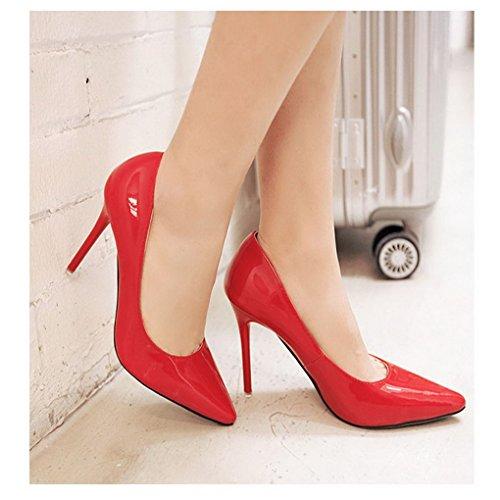Evedaily Femme Escarpins Vernis Bout Pointu PU Cuir Sexy Talon Haut Aiguille Chaussures de Soiree Mariage Rouge