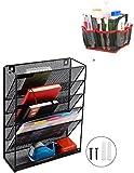 Martclix - Organizador de archivos de 5 bandejas, organizador de correo, organizador de malla de metal, para colgar en la pared, organizador de oficina en casa con 10 bolsillos, 2 en 1; comprar 1 organizador de cosméticos y obtener 1 para gratis
