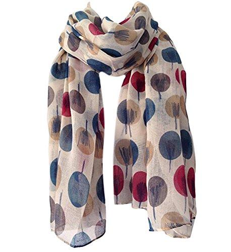 Écharpe, châle, sarong pour femmes - Fond beige crème ivoire - Imprimé Arbre a1b0af27117