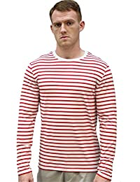 sourcingmap®Homme Encolure Torsadée Manches Longues Motif Rayé T-shirt