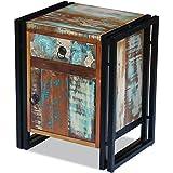 Festnight Retro Design Nachttisch Nachtschrank aus Recyceltes Massivholz als Beistelltisch Seitenschrank oder Telefonschrank
