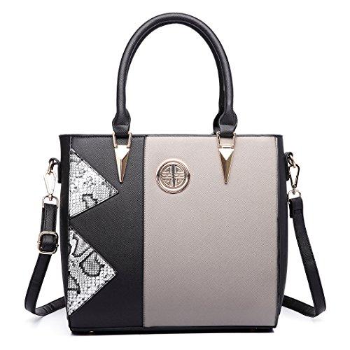 Miss Lulu , Damen Tote-Tasche 1654 Black/Grey