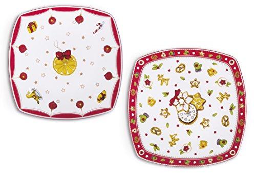 Excelsa Navidad Plato Panettone, Porcelana, ornamentos surtidos, 23.5x 23.5x 1.5cm