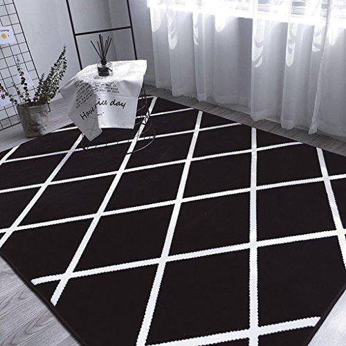 Innenteppich Teppich - Schwarz Grau Plaid Sofa Teppich, 5x7 Solid und Dicke Antirust Gefrierschrank Wohnzimmer Teppich - rutschfester Teppich Decke ( Farbe : Schwarz , größe : 0.8*1.85m ) (5x7 Teppich Rutschfest)