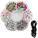 TOAOB 210 Stück Bunte Buchstabenperlen Anhänger Perlen für Loom Bänder Armbänder Gummibänder Bänder Starter Set Basteln DIY Zubehör