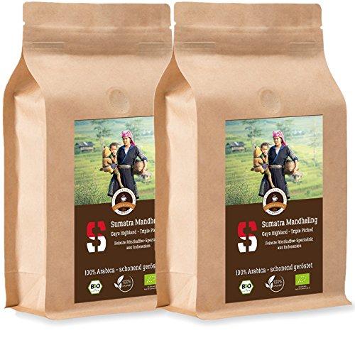 Kaffee Globetrotter - Sumatra Mandheling Gayo Highland - Bio - 2 x 1000 g Mittel Gemahlen - für...