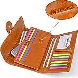 Jack&Chris Womens Genuine Leather Organizer Wallet Card Case Purse, WBXH053 (Brown)