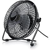 CSL - USB Ventilador / Fan | ventilador de mesa | carcasa de metal y paletas de rotación de plástico | PC / portátil | en negro