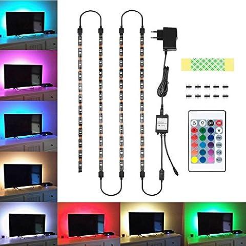 TV Hintergrundbeleuchtung, Blusmart Led Streifen Beleuchtung Wasserdicht 4x40cm und 4x50cm Anschlusskabel mit Fernbedienung 24 Tasten und Netzteil 5V 2A für TV Monitor PC Laptop