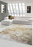 Traum Teppich Designerteppich Moderner Teppich Wohnzimmerteppich Kurzflor mit Konturenschnitt Kariert in Grau Gelb Weiß, Größe 80x150 cm