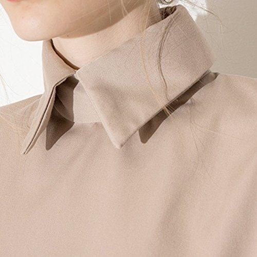 Retro Frauen Khaki Halbe Huelsenrevers Zurueck Unsichtbarer ReissVerschluss Lose Kurz Shirt Spitzen Khaki
