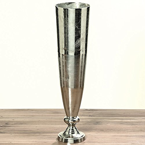 DAFLOXX XXL Vase Romano 93cm Aluminium Raw Nickel Silber Bodenvase Alu Dekovase