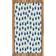 Abakuhaus Tapis de décoration pour Fruits avec Inscription en Allemand Netter Tasty Blueberry Figurines, Impression numérique, Coloration à Long Terme, 80 x 150 cm, Violet/Blanc Vert