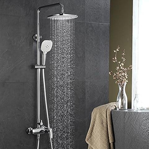 ubeegol Regendusche Duschsystem Duschsäule Duschgarnitur Chrom Duscheset (ohne Wasserhahn) Eckig Überkopfbrause Duscharmatur Rainshower Handbrause für Dusche