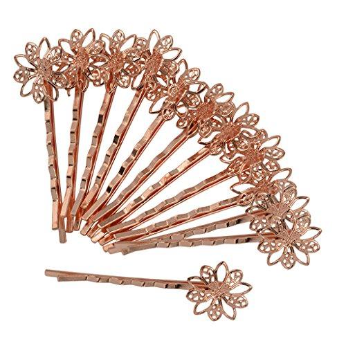 MagiDeal 12er Set Metall Haarspangen Blumen Haarclips Haarklammern Haarnadeln Haar Zubehör - Roségold