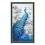 EXQULEG Diamond Painting DIY 5D Diamant Malerei Dark Blue Peacock Pfau Strass Bilder Kunst Handwerk für Wohnenzimmer Dekoration (100 x 65cm)
