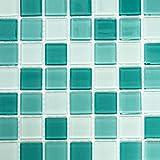 Mosaik Fliese Transluzent grün Glasmosaik Crystal grün für WAND BAD WC DUSCHE KÜCHE FLIESENSPIEGEL THEKENVERKLEIDUNG BADEWANNENVERKLEIDUNG Mosaikmatte Mosaikplatte