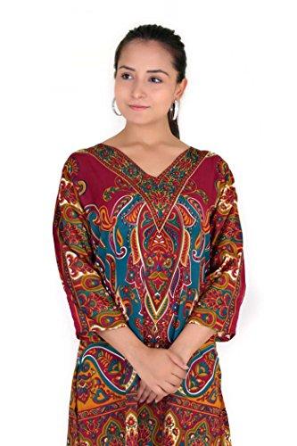 Le nuove signore casuali Sera tribale Stampa Etnica tunica caftano Top Taglia 38 40 42 44 46 rosso (Maroon)