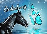 10 Einladungskarten zum Kindergeburtstag - Pferd - Mädchen - Party - Geburtstag 2
