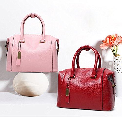 SHUhua europäische u. Amerikanische Art und Weise Boston-Beutel-Frauen-Schulter-Beutel-Handtaschen-Tote-Geldbeutel pink