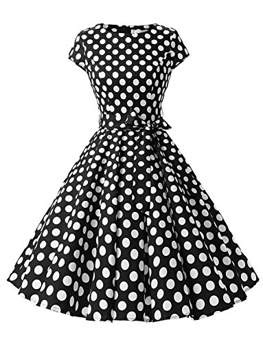 Dressystar Damen Vintage 50er Cap Sleeves Dot Einfarbig Rockabilly Swing Kleider Schwarz Weiß Dot B...