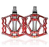 WLot Fahrradpedale MTB Pedale Radfahren Pedale aus Aluminiumlegierung Abgedichtete Lager 9/16 Zoll für MTB Rennrad Stadtrad (Rot)