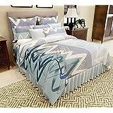 Home Designs Blue Circles & Squares 1 Pc Reversible Premium Cotton Duvet Cover/Quilt Cover-Double Size (with Concealed Zippers)