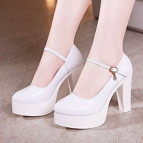 Dimaol Chaussures Femme Peau De Vache Printemps Automne Pompe Talons De Base Chunky Talon Toe Boucle Pour Extérieur Blanc Noir Blanc