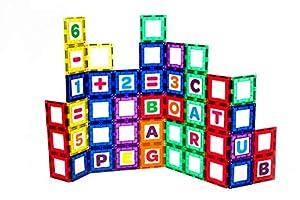 Playmags Colección de Platos magnéticos Edificios - 80 Piezas educativas, 40 Ventanas magnéticas súper Resistentes, Colores Transparentes y 40 Letras y números.