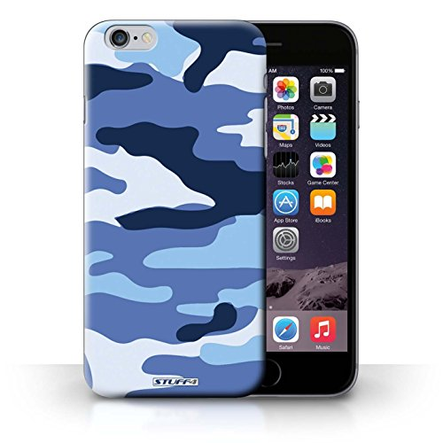 Kobalt Bianco 4 stampato Custodia Cover per iPhone 6+/Plus 5.5 cellulari telefoni / Collezione Camuffamento Army Navy Blu 2