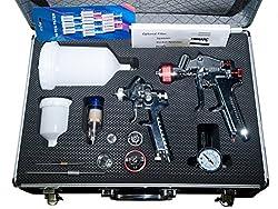 Autolack 2 Lackierpistolen Set inkl. Zubehör + 10 Lacksiebe 190 my