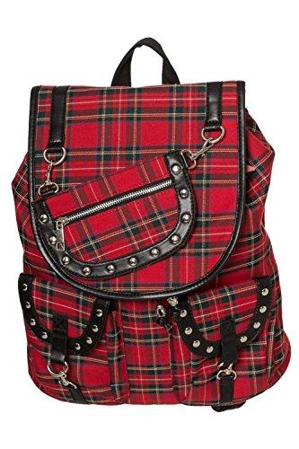 Banned Yami Tartan Rucksack Beutel Backpack Tasche Bag Gothic Rot