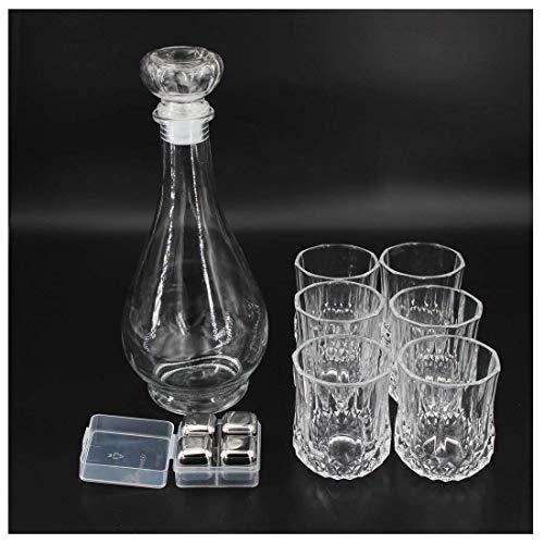 Ecentaur - Juego de 6 cubitos de hielo de cristal y 4 de acero inoxidable para vino, licor y agua