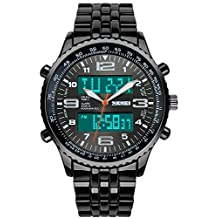 SunJas Orologio da Polso da Uomo Nero Acciaio Inossidabile Impermeabile Cronometro Nottilucenti