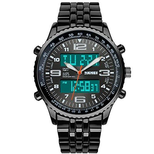 SunJas-Reloj-Deportivo-de-Doble-Horario-Multifunciones-de-Alarma-Fecha-y-Calentario-Tiempo-Mundial-Reloj-Electrnico-Digital-con-Luces-Impermeable-contra-Agua-de-50m-de-Nuevo-Diseo-Negro