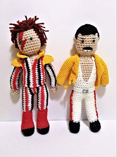 Freddie Mercury y David Bowie de amigurumi 23 centimetros