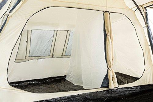 CampFeuer - Großes Tunnelzelt, Creme/schwarz, 5000 mm Wassersäule, Campingzelt - 8