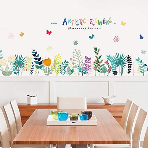 Zyzdsd Baseboard Bunte Künstlerische Blumen Wandaufkleber Abnehmbare Wohnzimmer Schlafzimmer Hintergrund Dekoration Wandbild Aufkleber Aufkleber