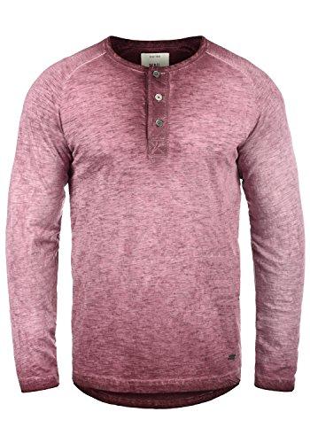 Redefined Rebel Mont Herren Longsleeve mit Grandad-Ausschnitt Aus 100% Baumwolle Meliert, Größe:M, Farbe:Bordeaux (Baumwoll-baseball-tee)