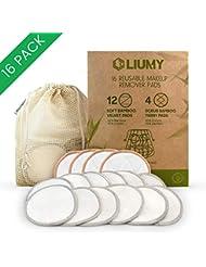 LIUMY - Waschbare Abschminkpads  16 Abschminktücher aus Bambus & Baumwolle mit Wäschebeutel   Umweltfreundlich   Wattepads wiederverwendbar   Gesichtsreinigung   Zero Waste